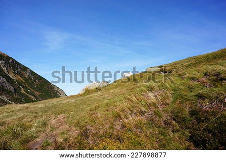 Grass and hills of the Karkonosze mountains in Poland - stock photo