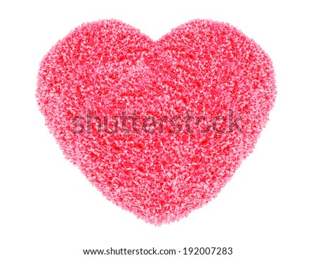 Grass and plants, small red heart. During the Valentine season. on white background - stock photo