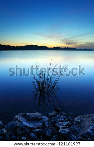 Grass and stone on a water dam in the sunrise - stock photo