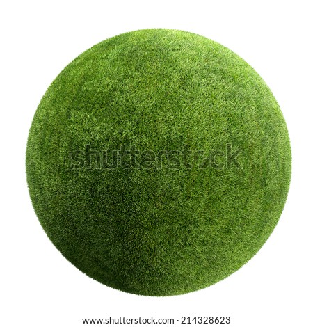 grass ball isolated - stock photo