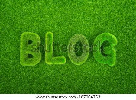 Grass blog word - stock photo
