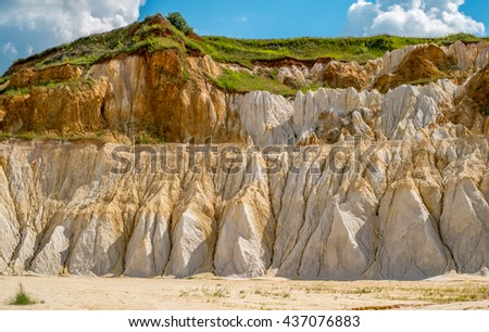 Grass covered sand hills - stock photo