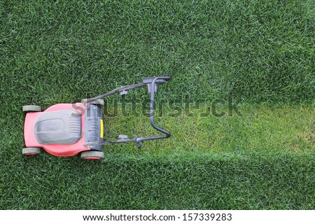 Grass cutter cuts the green  lawn - stock photo