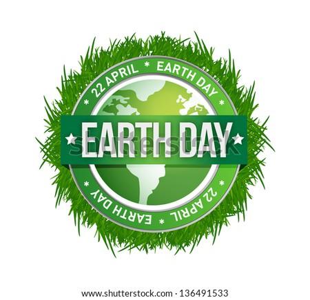 grass earth day written inside the stamp illustration design - stock photo