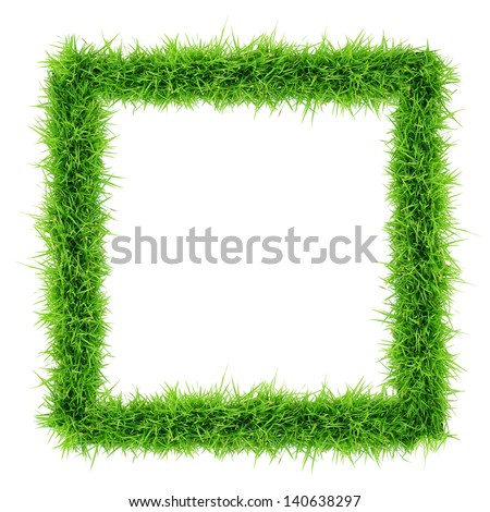 grass frame top view on white background - stock photo