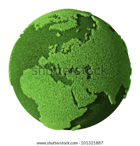 Grass Globe - Europe, isolated on white background. 3d render - stock photo