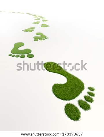grass green footprints in white background - stock photo