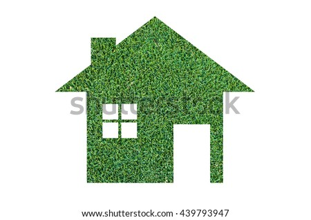 Grass home icon from grass background,Eco Architecture,Green Building,Image clean green house. Ecology , isolated on white - stock photo