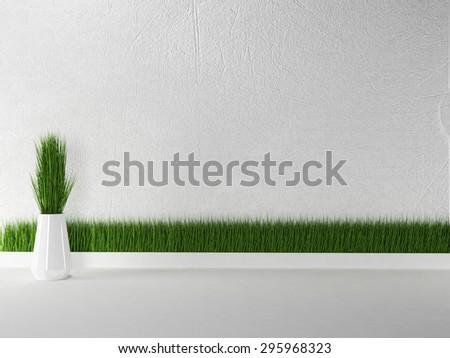 grass in the vase, 3d rendering - stock photo