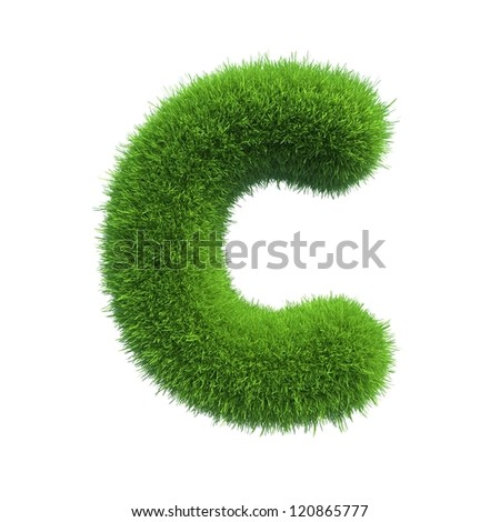 grass letter C isolated on white background - stock photo