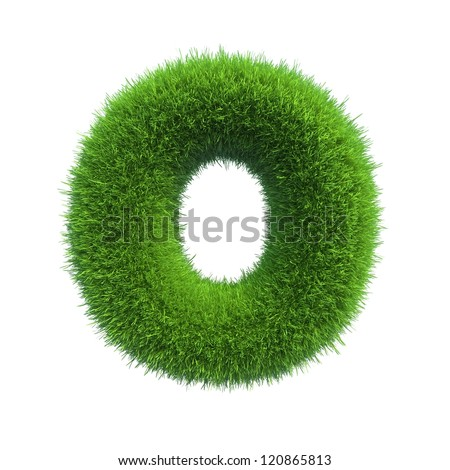grass letter O isolated on white background - stock photo
