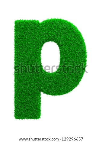 Grass Letter P Isolated on White Background. - stock photo