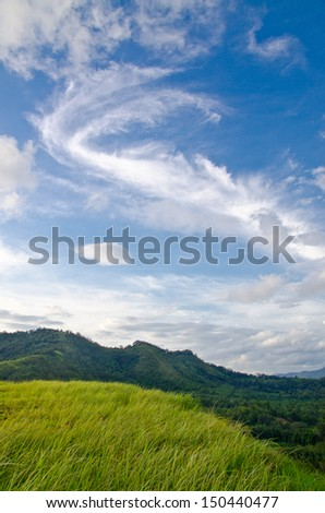 Grass Mountain and blue sky background located in Ranong, Thailand - stock photo