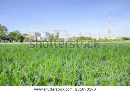 Grass of soccer fields - stock photo