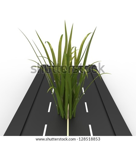 Grass on road white background - stock photo