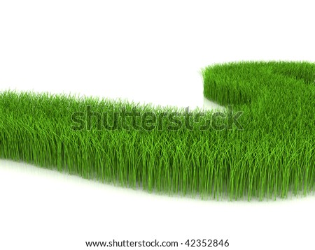Grass on white background - stock photo