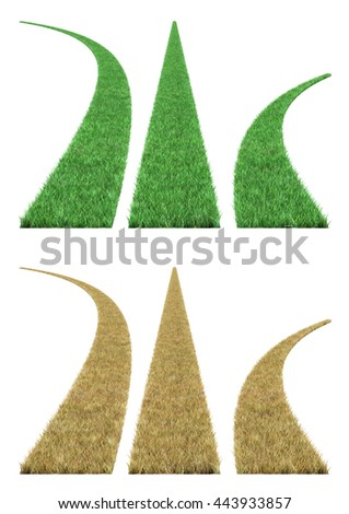 grass road 3D illustration,  - stock photo