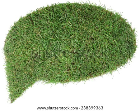 Grass Speech Bubble Isolated on White Background - stock photo