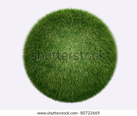 grass sphere on white background. Isolated 3d model - stock photo