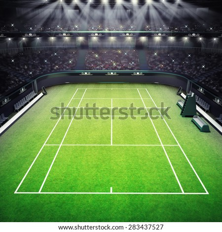grass tennis court and stadium full of spectators with spotlights tennis sport theme render illustration background my own design - stock photo