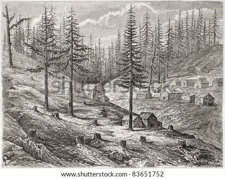 Grass Valley old view, California. Created by Pelcoq, published on Le Tour du Monde, Paris, 1860 - stock photo