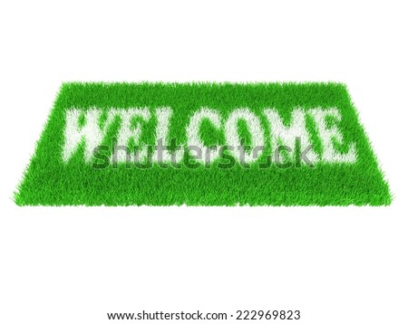 Grass welcome carpet. Welcome doormat carpet isolated on white - stock photo