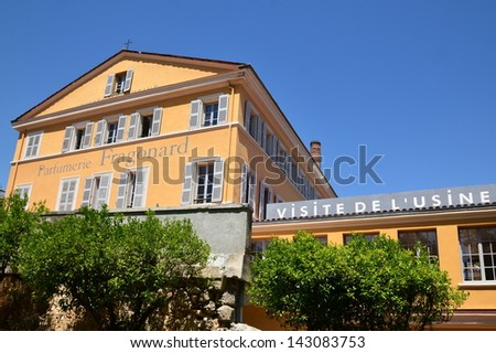 GRASSE, FRANCE - JUNE 18: Parfumerie Fragonard facade shown on june 18, 2013 in Grasse, France. Fragonard perfumery is one of the older factory in the world capital of perfumes - stock photo