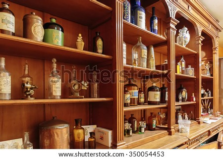 GRASSE, FRANCE - OCTOBER 31, 2014: Old perfume shop - stock photo