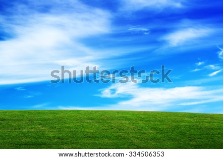 Grassland and Sky, Horizon over Field, Open Empty Green Grass Countryside Meadow and Blue Sky with Clouds, Beautiful Spring Season Natural Scene - stock photo