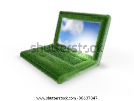 Grassy laptop - stock photo
