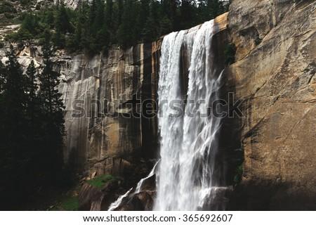 Grate Waterfalls of Yosemite - stock photo