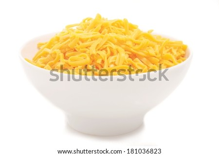 grated cheddar cheese isolated in white bowl - stock photo