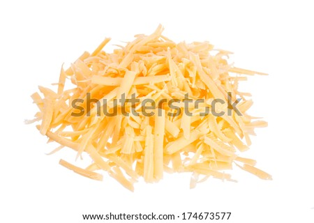 Grated cheese isolated on white - stock photo