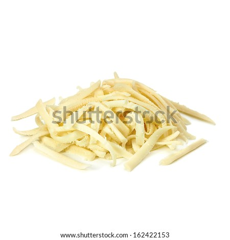 Grated cheese pile on white background - stock photo
