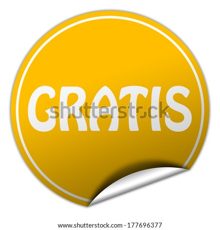 gratis round yellow sticker on white background - stock photo