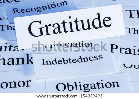 Gratitude Concept - a conceptual look at gratitude, indebtedness, recognition, obligation, - stock photo