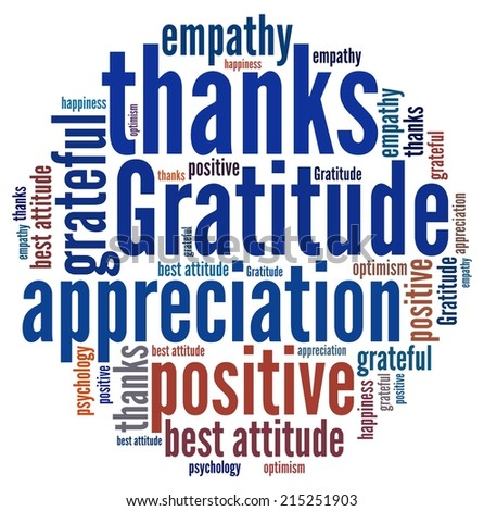 Gratitude in word collage - stock photo