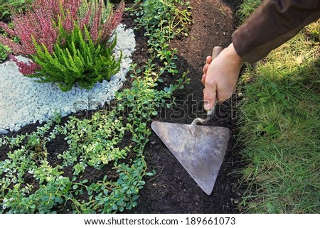 grave cultivation and maintenance, gardener planing with a trowel - stock photo