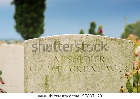 Grave of unknown fallen soldier in World War I at Tyne Cot cemetery in Passchendaele, Ypres, Flanders - stock photo
