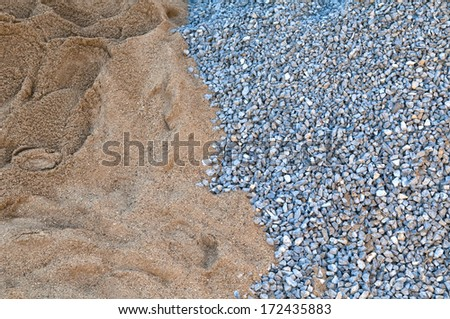 gravel and sand - construction industrial outdoor pebble rock stone texture build - stock photo