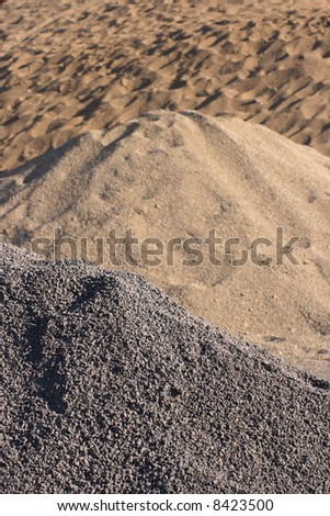 Gravel and sand focus on gravel. - stock photo