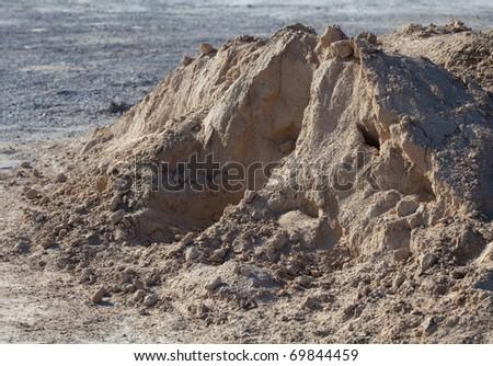 gravel on the land, extreme closeup photo - stock photo