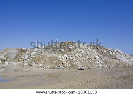 Gravel Pile at cement production plant - stock photo