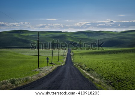 Gravel road in the Palouse region of eastern Washington state - stock photo