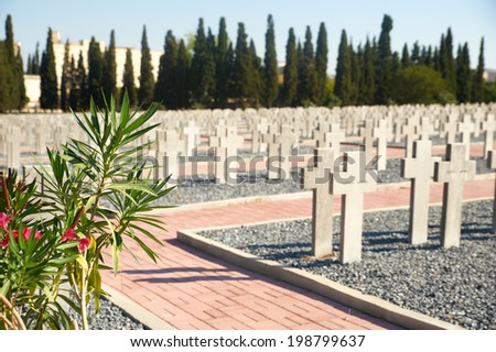 Graves at the French part of the WWI Allied Military Cemeteries, Thessaloniki, Greece - stock photo