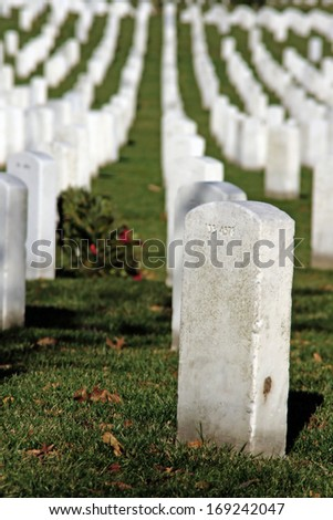 Graves in Arlington National Cemetery - stock photo