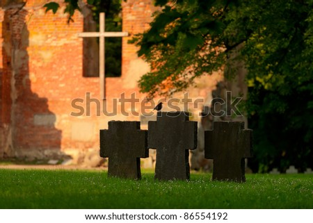 graves of German soldiers in Russia. Kaliningrad region - stock photo