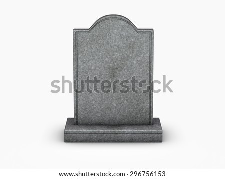 gravestone on white background - stock photo