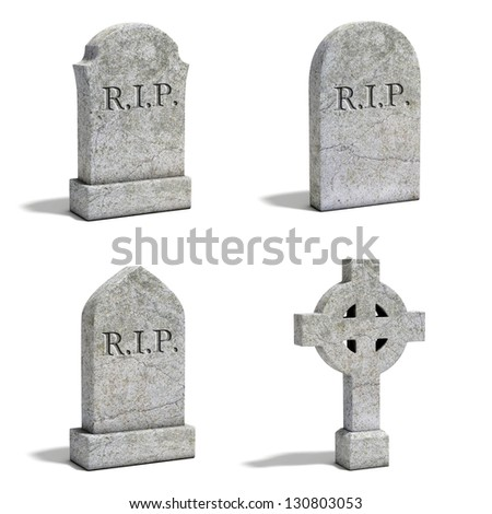 gravestone set - stock photo