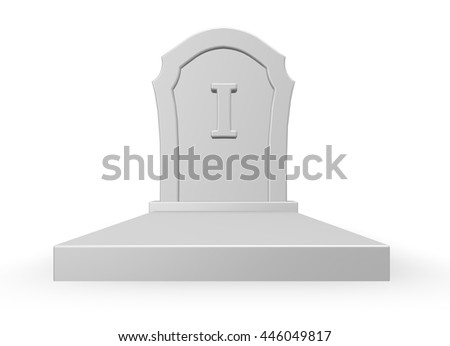 gravestone with letter i - 3d rendering - stock photo